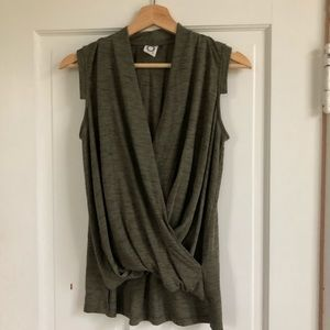 Anthropologie Olive Wrap Tee, Size Small